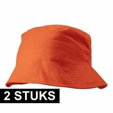 2x oranje vissershoedje 57-58 cm