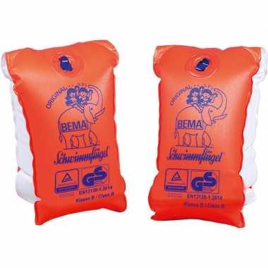 2x oranje zwembandjes/zwemmouwtjes voor kinderen tot 30-60 kilogram