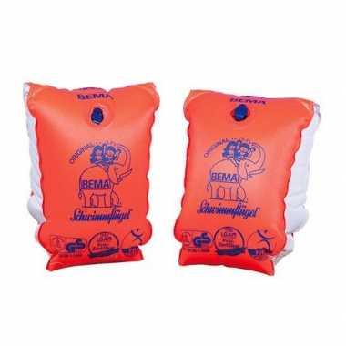 2x oranje zwembandjes/zwemmouwtjes voor kinderen tot 30 kilogram