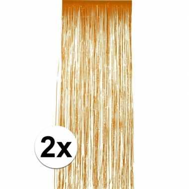 2x stuks oranje folie deurgordijnen van 2 x 1 meter