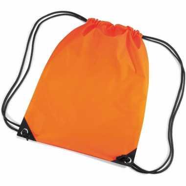 2x stuks oranje sport gymtasjes voor kinderen 45 x 34 cm