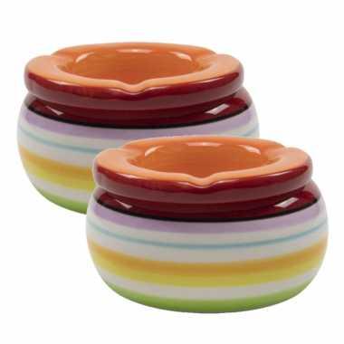 2x stuks ronde terras asbakken/stormasbakken oranje keramiek 13 x 7 cm