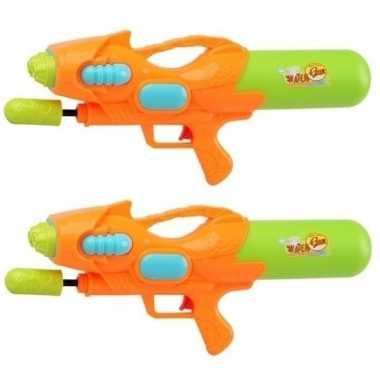 2x watergeweren met pomp oranje groen 47 cm