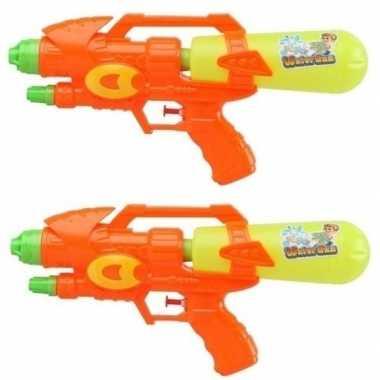 2x watergeweren oranje/geel 34 cm