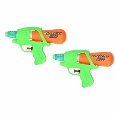 2x waterpistool/waterpistolen groen/oranje 20 cm
