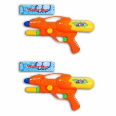 2x waterpistool/waterpistolen oranje 27 cm