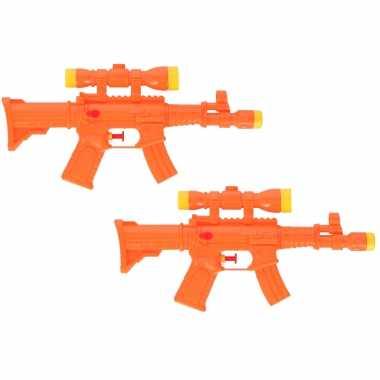 2x waterpistool/waterpistolen oranje 29 cm
