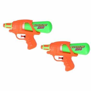 2x waterpistool/waterpistolen oranje/groen 20 cm