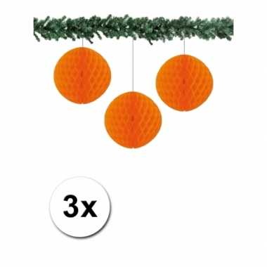 3 oranje papieren kerstballen 10 cm