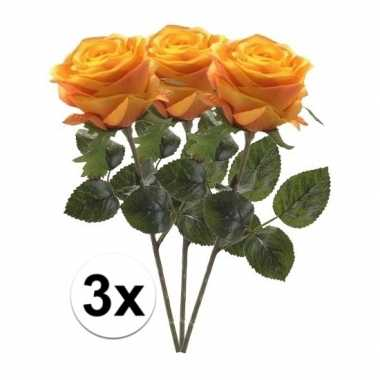 3 x kunstbloemen steelbloem geel/oranje roos simone 45 cm