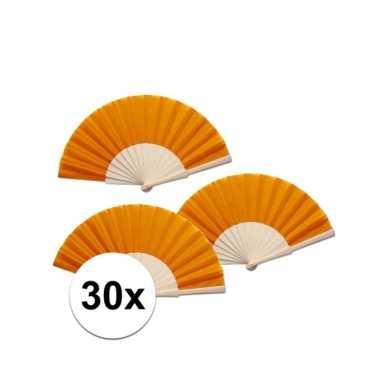30 stuks oranje waaier van hout