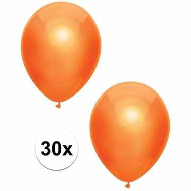 30x oranje metallic heliumballonnen 30 cm