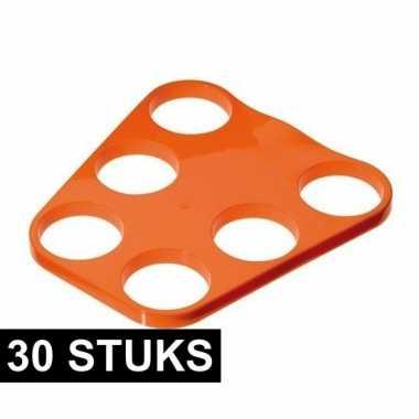 30x oranje plastic bier tray voor 6 glazen
