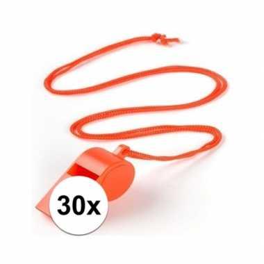 30x voordelig plastic fluitje oranje