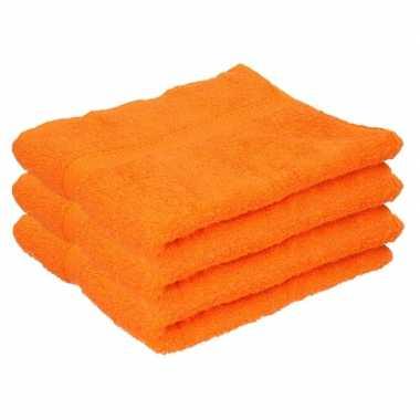 3x badkamer/douche handdoeken oranje 50 x 90 cm