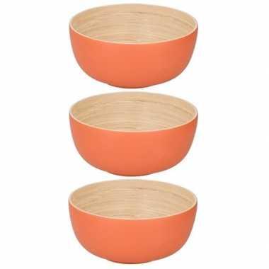 3x bamboehouten fruitschaal oranje 24 cm