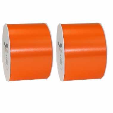 3x brede luxe oranje satijnlint rollen 9 cm x 91 meter cadeaulint verpakkingsmateriaal