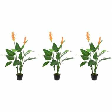 3x groene paradijsvogel kunstplanten 110 cm met oranje bloemen en zwa