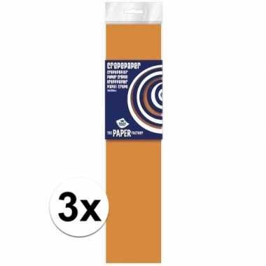 3x hobby crepe papier neon oranje 250 x 50 cm