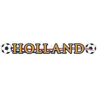 3x holland voetbal slinger/ bannier karton 115x12 cm - oranje versiering raam