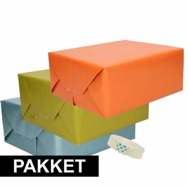 3x kraft inpakpapier met plakband pakket oranje/groen/blauw