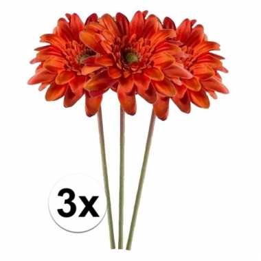 3x kunstbloemen steelbloem oranje gerbera 47 cm.