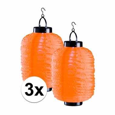 3x lampionnen op zonne energie oranje