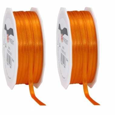 3x luxe oranje satijnen lint rollen 0,6 cm x 50 meter cadeaulint verpakkingsmateriaal