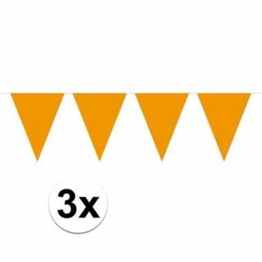 3x mini vlaggetjeslijn slingers verjaardag oranje