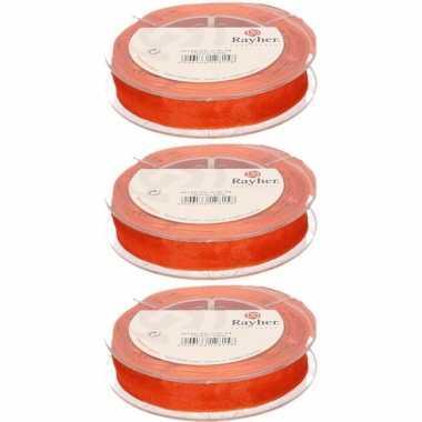3x oranje organzalint rollen 1,5 cm x 10 meter cadeaulint/kadolint verpakkingsmateriaal
