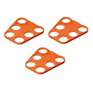 3x oranje plastic bier tray voor 6 glazen