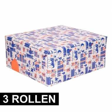 3x rol met blauw/wit/oranje sinterklaas inpak papier