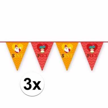 3x sinterklaas decoratie vlaggen slingers rood oranje