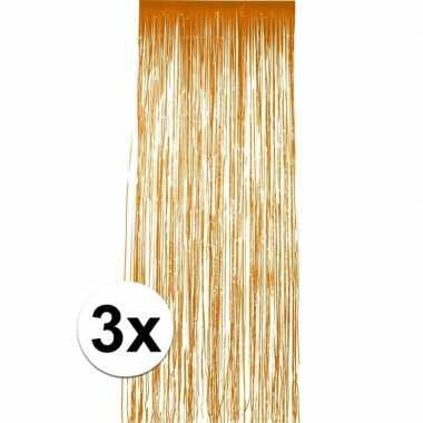 3x stuks oranje folie deurgordijnen van 2 x 1 meter