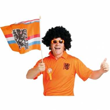 3x stuks oranje holland zwaaivlag nederlands wapen