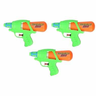3x waterpistool/waterpistolen groen/oranje 20 cm