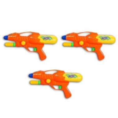 3x waterpistool/waterpistolen oranje 27 cm