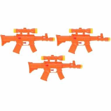 3x waterpistool/waterpistolen oranje 29 cm