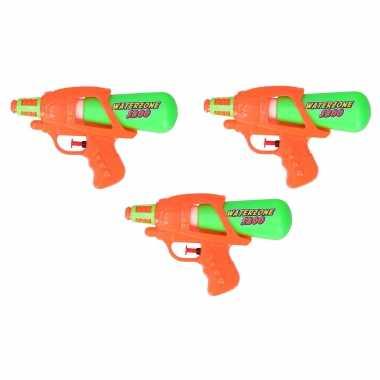 3x waterpistool/waterpistolen oranje/groen 20 cm