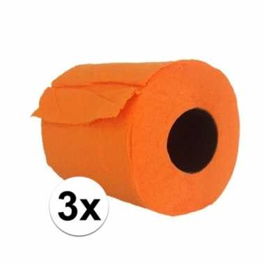 3x wc papier oranje