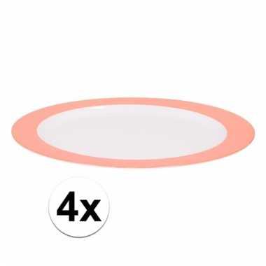 4 ontbijtborden melamine wit met oranje rand