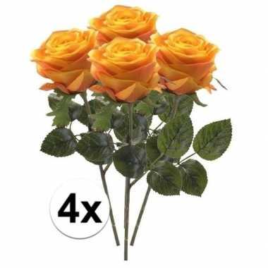 4 x kunstbloemen steelbloem geel/oranje roos simone 45 cm