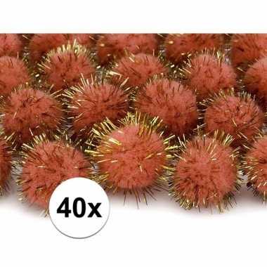 40x hobby pompons 20 mm oranje