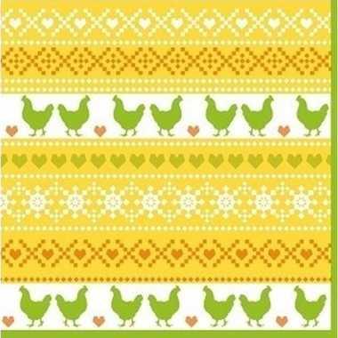 40x paasdecoratie servetten 33 x 33 cm geel/oranje/groen met kippen p