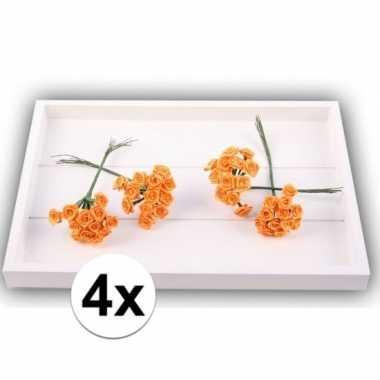 48 oranje roosjes van satijn 12 cm