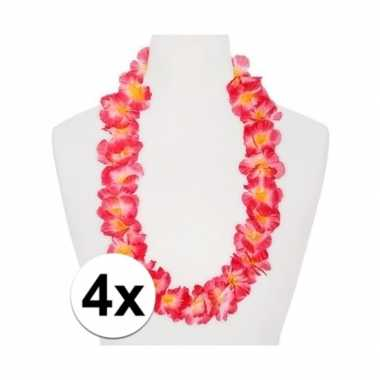 4x hawaii ketting/kransen/ krans roze/oranje