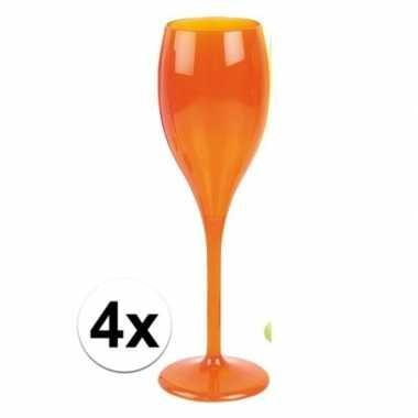 4x neon oranje wijnglazen plastic
