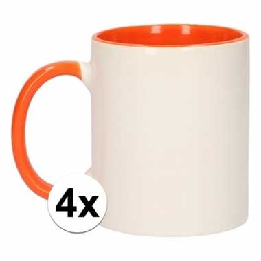 4x onbedrukte mokken wit/oranje