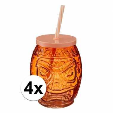 4x oranje glazen drink potje met rietje 550 ml