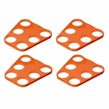 4x oranje plastic bier tray voor 6 glazen